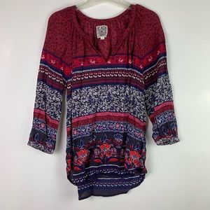 BeachLunchLounge Red Blue Printed Peasant Blouse